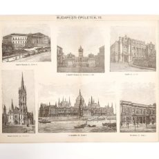 Budapest épületek eredeti antik nyomat A3