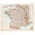 Franciaország eredeti antik nyomat A3