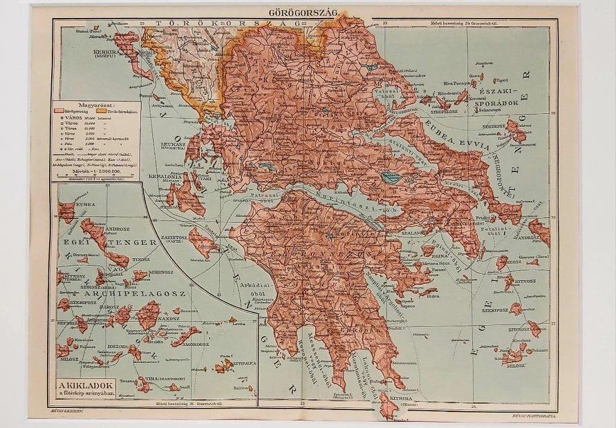 Görögország eredeti antik nyomat A3