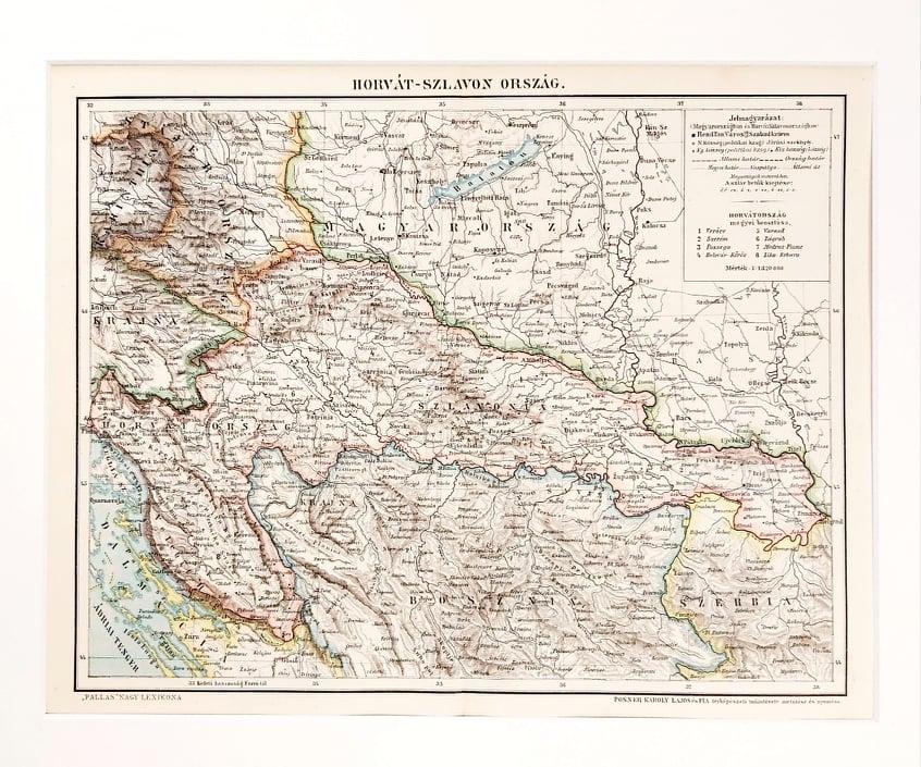 Horvátország eredeti antik nyomat A3