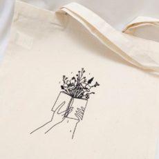 Könyv virág vászon táska totebag