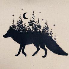 Róka erdőben vászon táska totebag
