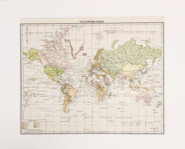 Világforgalom eredeti régi nyomat A3
