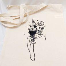 nő bor virág vászon táska totebag