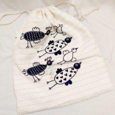 Fehér - kék madarak kenyeres zsák nagy