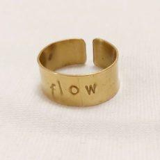 Flow feliratos réz gyűrű