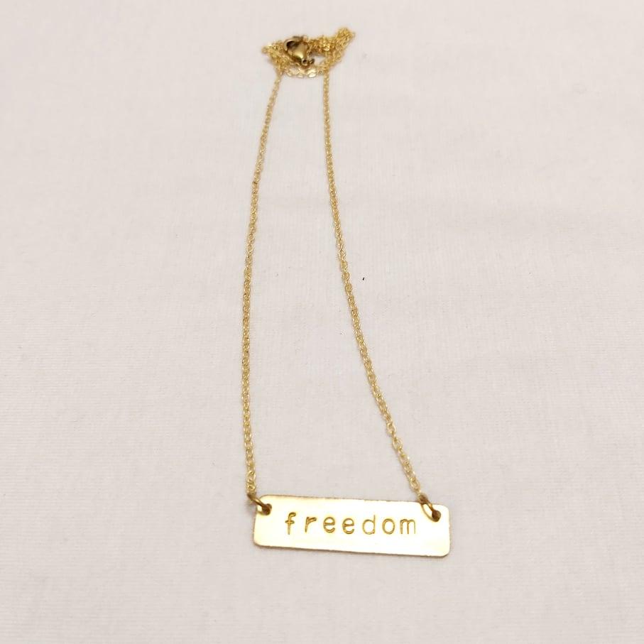 Freedom feliratos réz nyaklánc