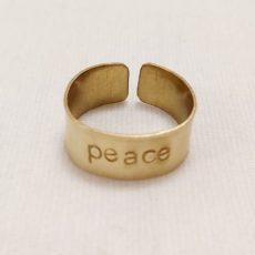 Peace feliratos réz gyűrű