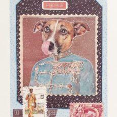 Profil kutya designer kollázs nyomat