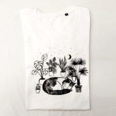 Macska növények között (cat plant) póló fehér