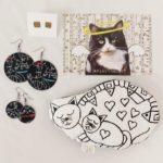 Macska textil fülbevaló hangulat