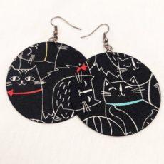 Macska textil fülbevaló maxi