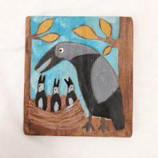 Madár és fészek festmény fatáblán