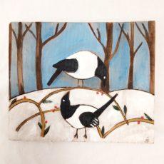 Madarak téli erdőben festmény fatáblán