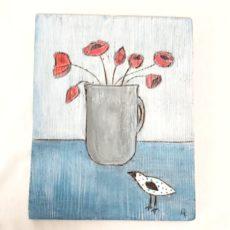 Pipacsok madárral festmény fatáblán