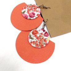 Rókavörös virágos textil fülbevaló félhold extra
