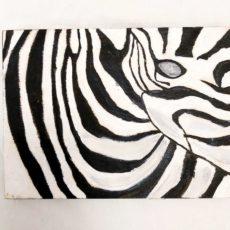 Zebra festmény fatáblán