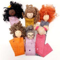 Gyapjú Waldorf könyvjelző lányok