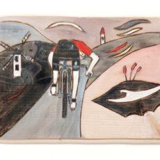 Kerékpár festmény fatáblán