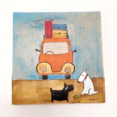 Kutyák és kocsi festmény fatáblán