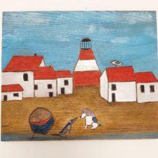 Kutyák és világítótorony festmény fatáblán