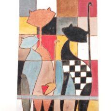 Macskák festmény fatáblán