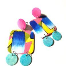 Pink-kék retro epoxy fülbevaló