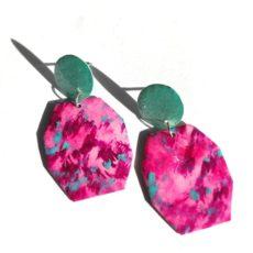 Pink-türkiz epoxy fülbevaló