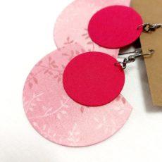 Pink virágos textil fülbevaló félhold extra