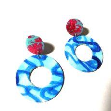 Piros-kék kör epoxy fülbevaló