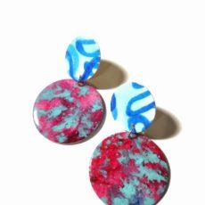 Piros-kék tömör kör epoxy fülbevaló
