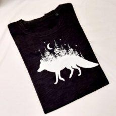 Róka erdő hold (fox forest moon) póló fekete