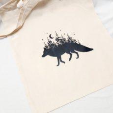 Róka hold erdő (fox forest moon) táska