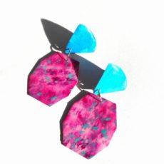 Türkiz-pink epoxy fülbevaló
