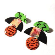 Zöld-fekete-narancs epoxy fülbevaló